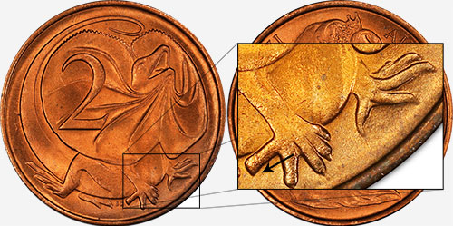 2 cents 1966 - Blunt 1st claw - Perth mint