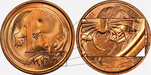 1 cent 1966 - Blunt 1st whisker - Melbourne mint