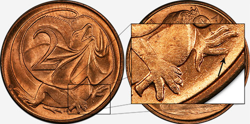 2 cents 1966 - Blunt 2nd claw - Melbourne mint
