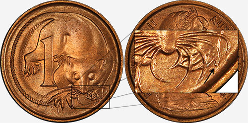 1 cent 1966 - Blunt 2nd whisker - Perth mint