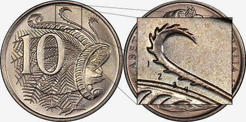10 cents 1966 - 4 spikes - Canberra mint