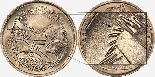 5 cents 1966 - Long spine - London mint