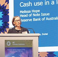 Head of Note Issue, Melissa Hope, speaks at the Currency Conference, April 2019