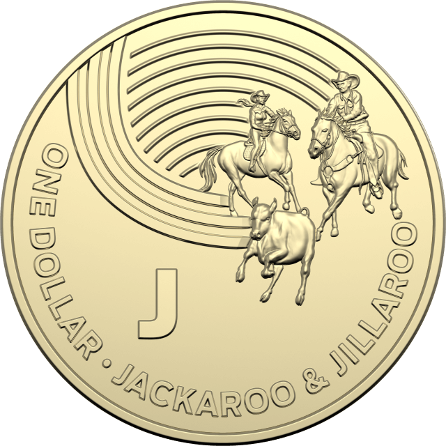 1 dollar 2019 - J - Jackaroo & Jillaroo - The Great Aussie Coin Hunt