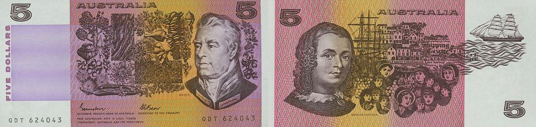 Five dollars 1967 to 1992 - Australia Banknote