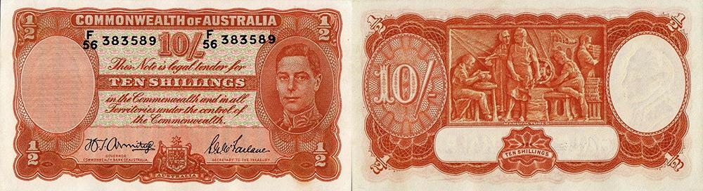 Ten shillings 1939 to 1954