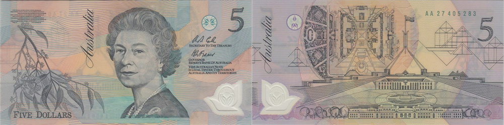 Five dollars 1992 and 1993 - Banknote of Australia