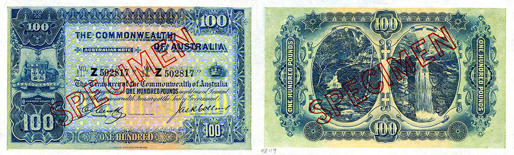 One hundred pounds 1914 to 1945 - Banknote of Australia
