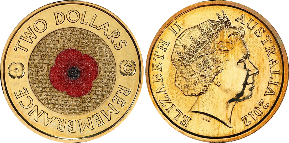 2012 two dollar remembrance coin